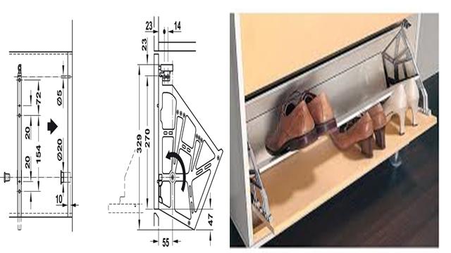 phụ kiện cho tủ giày kéo mở xuống