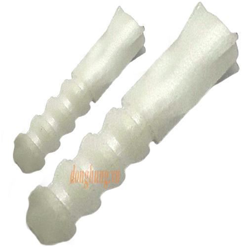 Tắc kê nhựa hỏa tiễn M6.5 x L28 x lỗ M4 (trắng)